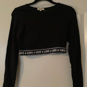 "Hearts and Hips: Black ""Love"" crop top *NWT*"